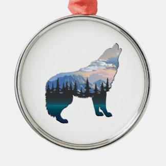 Ornement Rond Argenté Écho de Yellowstone