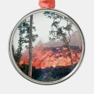 Ornement Rond Argenté écoulement de fonte du feu