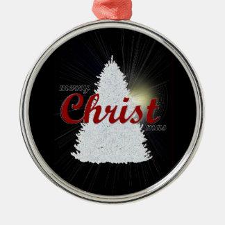 Ornement Rond Argenté écriture rouge d'ornement d'arbre de Joyeux Noël