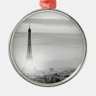 Ornement Rond Argenté eiffel tower, paris, France