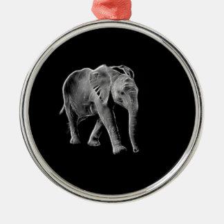 Ornement Rond Argenté Éléphant au néon de bébé