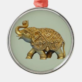 Ornement Rond Argenté Éléphant d'Asie