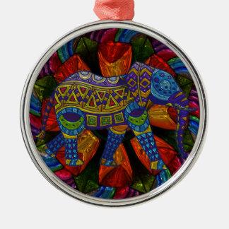 Ornement Rond Argenté Éléphant et mandala fleuris colorés
