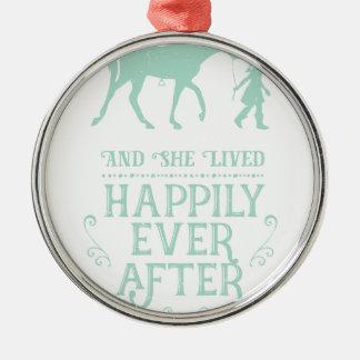 Ornement Rond Argenté Elle a vécu heureusement pour toujours cheval