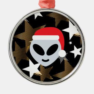 Ornement Rond Argenté emoji d'alien de père Noël