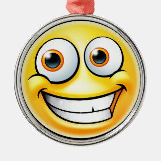Ornement Rond Argenté Émoticône heureuse d'Emoji