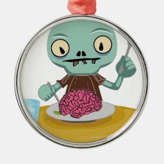 Ornement Rond Argenté enfant de zombi mangeant le cerveau
