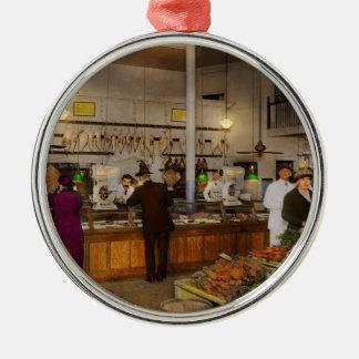 Ornement Rond Argenté Épicerie - boucher - vente sur le porc aujourd'hui