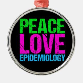 Ornement Rond Argenté Épidémiologie d'amour de paix