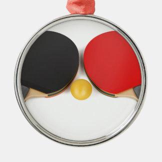 Ornement Rond Argenté Équipement de ping-pong