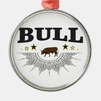 Ornement Rond Argenté étiquette brun de taureau