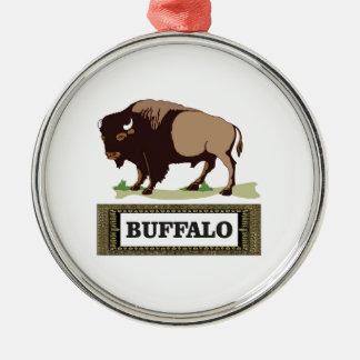 Ornement Rond Argenté étiquette brune de buffle