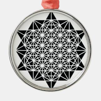 Ornement Rond Argenté Étoile de mandala de temps d'espace de création