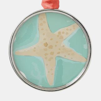 Ornement Rond Argenté Étoiles de mer