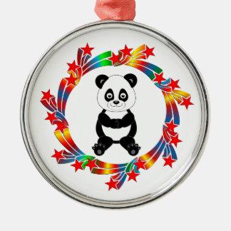 Ornement Rond Argenté Étoiles de panda