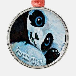 Ornement Rond Argenté Étreintes de panda