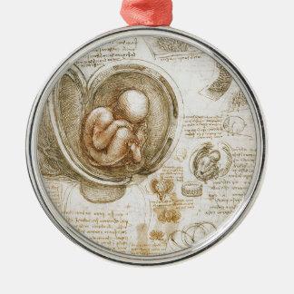 Ornement Rond Argenté Études de Leonardo da Vinci du foetus dans