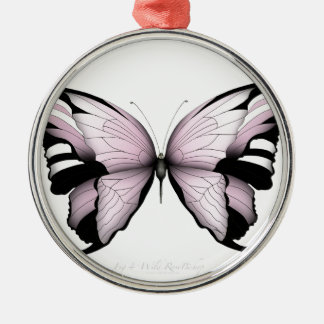 Ornement Rond Argenté Évêque rose sauvage de papillon rose