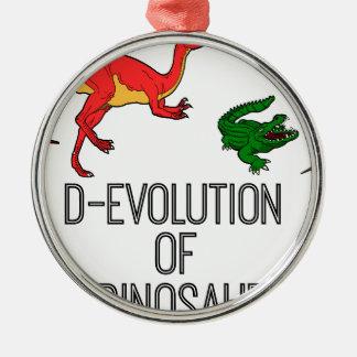 Ornement Rond Argenté Évolution de D de dinosaure