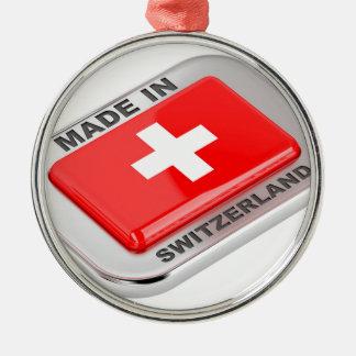 Ornement Rond Argenté Fabriqué en Suisse