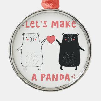 Ornement Rond Argenté faisons un panda