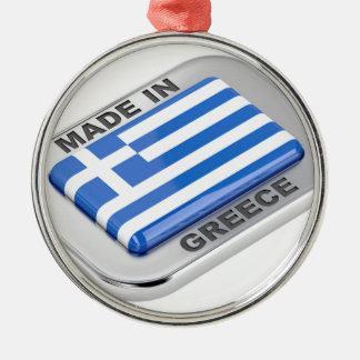 Ornement Rond Argenté Fait dans l'insigne de la Grèce