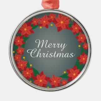 Ornement Rond Argenté Faveur de Joyeux Noël