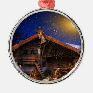 Ornement Rond Argenté Faveur d'histoire de Noël