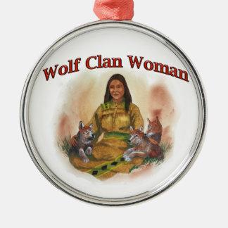 Ornement Rond Argenté Femme de clan de loup
