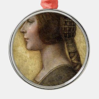 Ornement Rond Argenté Femme de la Renaissance