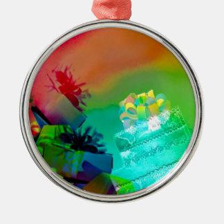 Ornement Rond Argenté Fest des cadeaux et des couleurs