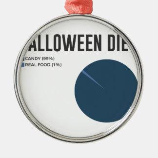 Ornement Rond Argenté Festins de bonbons à régime de Halloween et