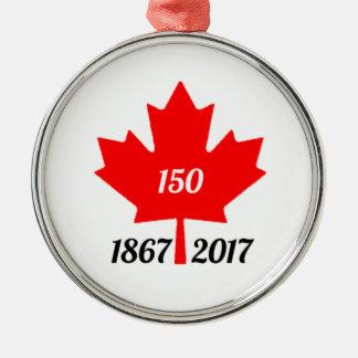 Ornement Rond Argenté Feuille d'érable du Canada 150 en 2017