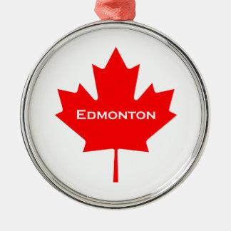 Ornement Rond Argenté Feuille d'érable rouge d'Edmonton