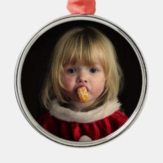 Ornement Rond Argenté Fille de Noël - enfant de Noël - fille mignonne
