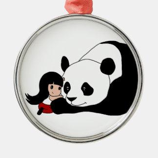 Ornement Rond Argenté Fille et panda
