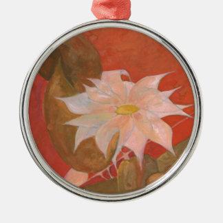 Ornement Rond Argenté Fleur 10