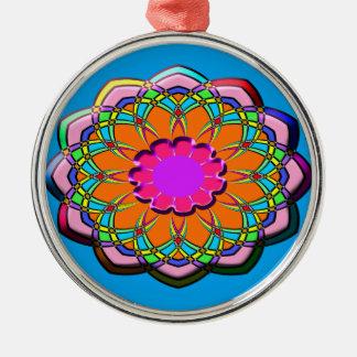 Ornement Rond Argenté Fleur abstraite colorée