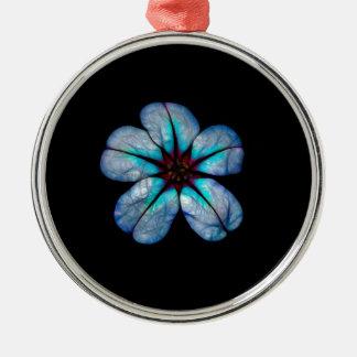 Ornement Rond Argenté Fleur au néon 1