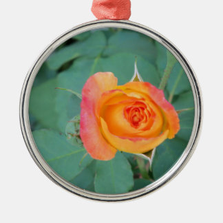 Ornement Rond Argenté fleur orange de rose jaune