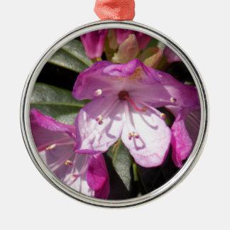 Ornement Rond Argenté Fleur rose