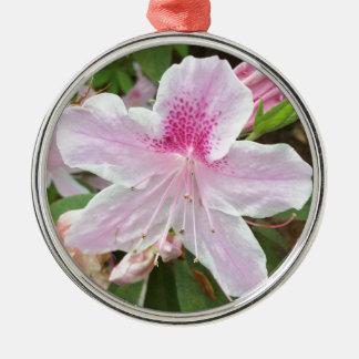 Ornement Rond Argenté Fleur rose-clair