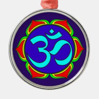 Ornement Rond Argenté fleur sacrée de yoga de zen de religion de