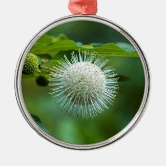 Ornement Rond Argenté Fleur sauvage de Bush de bouton de l'Alabama