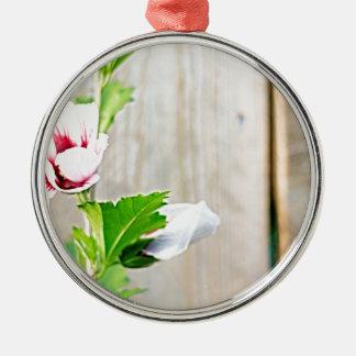 Ornement Rond Argenté Fleur simple