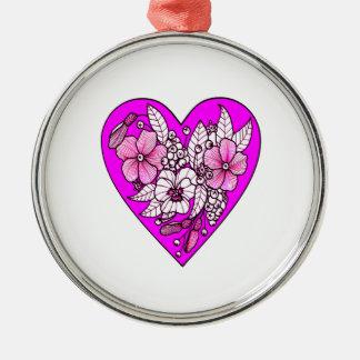 Ornement Rond Argenté Fleurs à un coeur