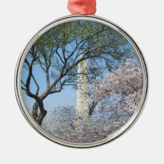 Ornement Rond Argenté Fleurs de cerisier et le monument de Washington
