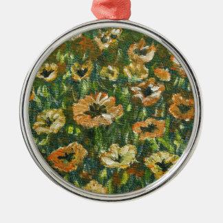 Ornement Rond Argenté fleurs d'orange de champ