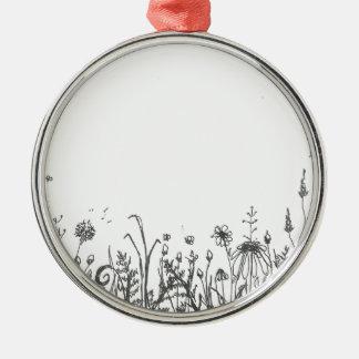 Ornement Rond Argenté fleurs sauvages