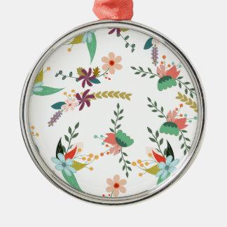 Ornement Rond Argenté Floral, art, conception, beau, nouvelle, mode,